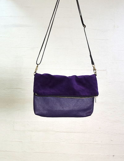 Folding bag leather/velvet, purple
